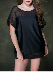 Plus Size  Dolman Sleeve Voile Panel Cover Up Tee