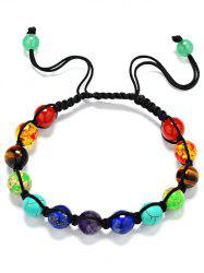 Natural Stone Braid Beaded Bracelet - MULTICOLOR