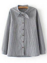 Long Sleeve Button Up Plaid Plus Size Shirt