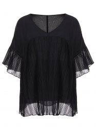 Pleated Chiffon Plus Size Top