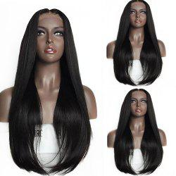 Long Straight Middle Part Tail Adduction Lace Front Synthetic Wig - BLACK
