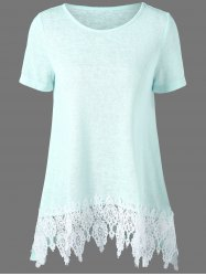 Lace Hem Longline Tunic T-Shirt - LIGHT GREEN