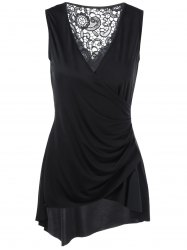 Sleeveless Lace Trim Asymmetrical Surplice Blouse -