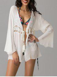 Collarless Wrap Crochet Kimono Swim Cover-Ups - WHITE