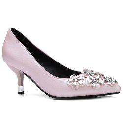 Flowers Faux Leather Rhinestones Pumps