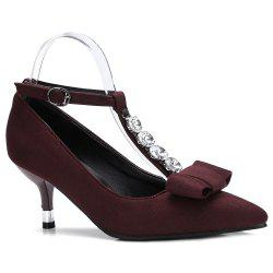 T Strap Kitten Heel Pumps