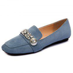Slip On Square Toe Flat Shoes - BLUE