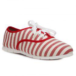 Canvas Striped Flat Shoes