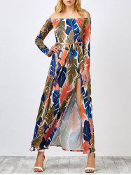 Off The Shoulder Leaf Print Hawaiian Maxi Dress