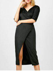 Half Sleeve Plunging Neck Wrap Fitted Dress -