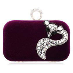 Fox Rhinestone Velour Evening Clutch Bag - DEEP PURPLE
