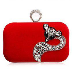 Fox Rhinestone Velour Evening Clutch Bag - RED