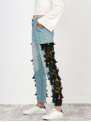 Floral Lace Panel Jeans with Pockets