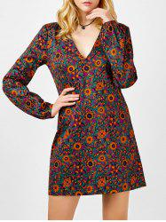 Mini Plunging Neck Long Sleeve Floral Dress