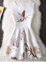 Floral and Butterfly Print Sleeveless Mini Dress