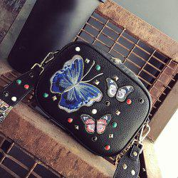 Rivet Butterfly Embroidery Crossbody Bag