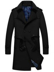 Double Breasted Epaulet Long Trench Coat - BLACK