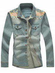 Star Patchwork Long Sleeve Denim Shirt