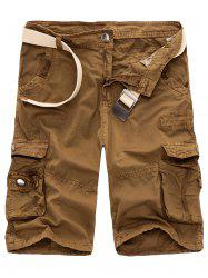 Zipper Fly Drawstring Design Multi Pockets Cargo Shorts - EARTHY