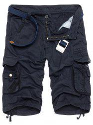 Zipper Fly Drawstring Design Multi Pockets Cargo Shorts - DEEP BLUE