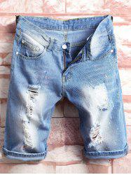 Paint Splatter Distressed Denim Shorts - BLUE