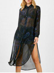 Button Up Printed Semi Sheer Chiffon Shirt Dress