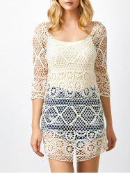 See Thru Crochet Tunic Cover Up - OFF-WHITE