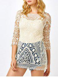See Through Lace Crochet Tunic Cover Up