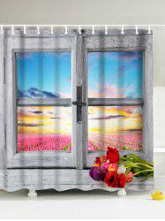 Window Landscape Design Shower Curtain with Hooks