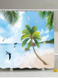 Beach Scenery Water Resistant Fabric Shower Curtain