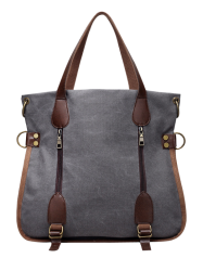 Zipper Canvas Handbags - GRAY