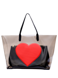 Transparent Heart Pattern Shoulder Bag