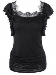 Butterfly Sleeve Lace Trim Ruched T-Shirt