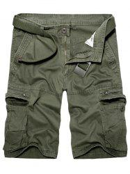 Staright Leg Multi Pockets Cotton Cargo Shorts