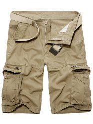 Staright Leg Multi Pockets Cotton Cargo Shorts - KHAKI