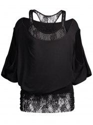 Cold Shoulder Batwing Lace Blouse
