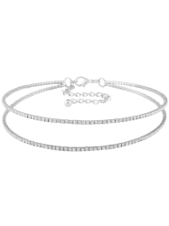 Double Circle Rhinestone Choker Necklace