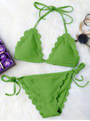 Scalloped String Bikini Swimwear