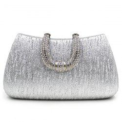 PU Leather Rhinestone Clutch Evening Bag - SILVER