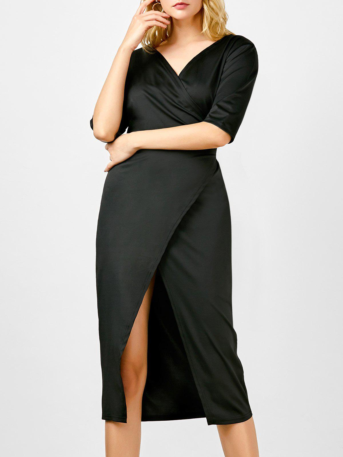 Store Half Sleeve Plunging Neck Wrap Fitted Dress