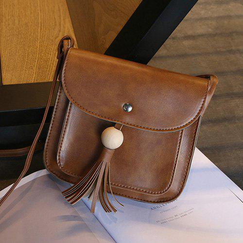 Trendy Tassel Wood Ball Cross Body Bag