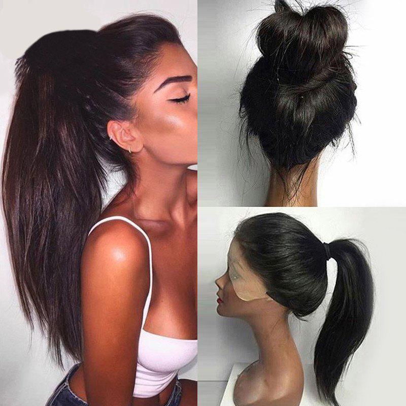 Long Ponytails Straight Lace Front Synthetic WigHAIR<br><br>Color: BLACK; Type: Full Wigs; Cap Construction: Lace Front; Style: Straight; Material: Synthetic Hair; Bang Type: None; Length: Long; Length Size(CM): 76; Weight: 0.3200kg; Package Contents: 1 x Wig;