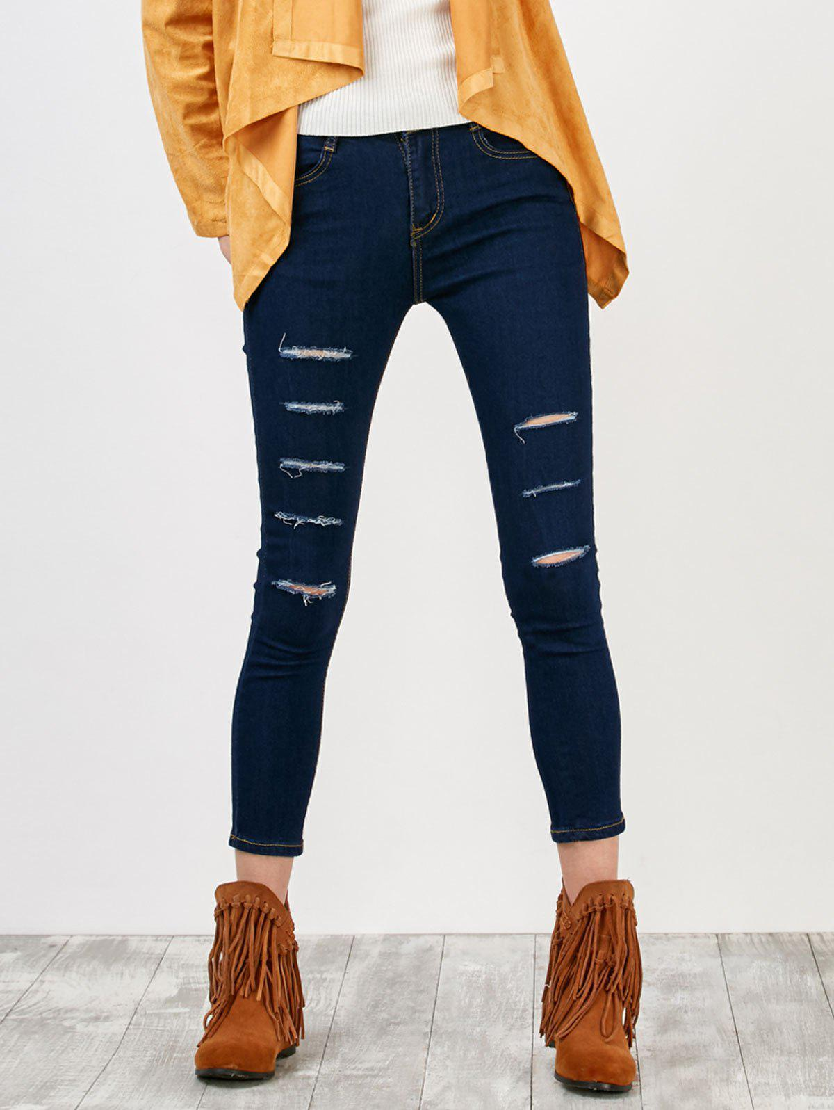 Distressed Pantacourt Jeans