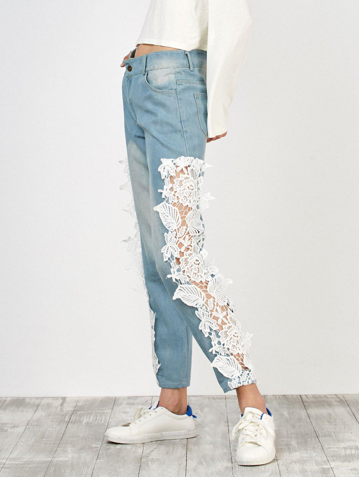 Cheap Floral Lace Panel Jeans with Pockets