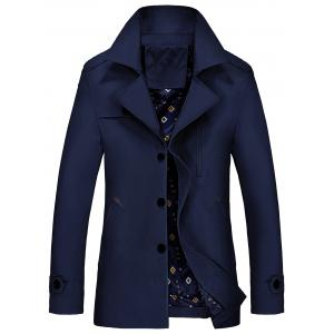 Lapel Epaulet Trench Coat - Purplish Blue - M