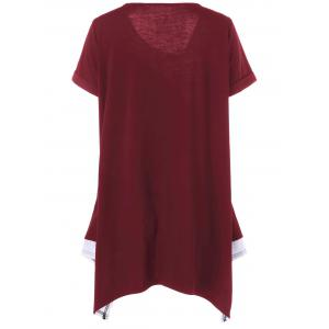 Plus Size Long Cuffed Sleeve Asymmetrical T-Shirt - RED/WHITE XL