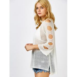 Cold Shoulder Tunic Sheer Swimsuit Cover Up - OFF WHITE ONE SIZE