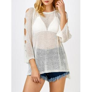 Cold Shoulder Tunic Sheer Swimsuit Cover Up - Off-white - One Size