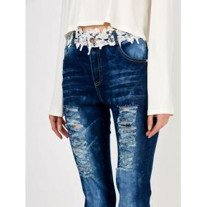 Distressed Floral Lace Panel Jeans - Bleu M