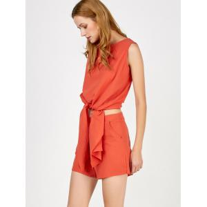 Knotted Asymmetrical Top and Shorts Twinset - DARKSALMON XL